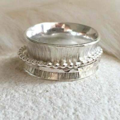 925 Sterling Silver Women's Jewelry Meditation Spinning Spinner Wide Band Ring • 14.29£