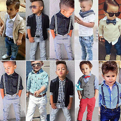 Kids Baby Boys Gentleman Outfit Suit Set Tops Jacket Pants Formal Party Clothes • 12.82£