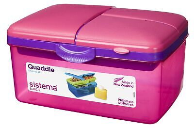 Sistema Large Pink Quaddie 4 Compartment Lunch Box 2 Ltr BPA Free • 10.95£