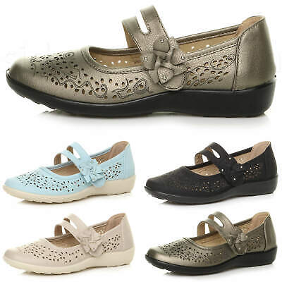 Womens Ladies Flat Grip Cushioned Mary Jane Smart Work Summer Comfort Shoes Size • 12.99£