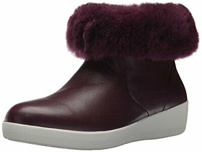 FITFLOP Women's SKATEBOOTIE Leather Boots With Shearling Ankle, Deep Plum, 7 M U • 73.89£