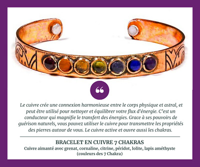 AU25.03 • Buy Copper 7 Chakra Crystal Bracelet Adjustable Magnetic Cuff Reiki Healing Gemstone
