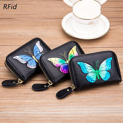 $11.98 • Buy Women Wallet Leather Butterfly RFID-Blocking Coin Case Mini Credit Card Purse