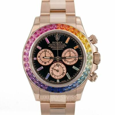 $ CDN66446.32 • Buy Rolex Daytona 18K Rose Gold Black Face Rainbow Marker & Bezel 116505 40mm UWWORN