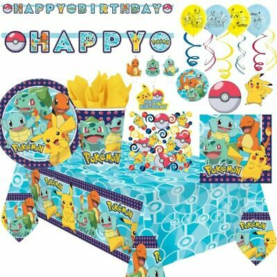 Pokemon Pikachu Party Supplies Birthday Party Tableware Decorations And Balloons • 3.99£