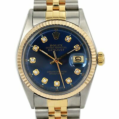 $ CDN5838.11 • Buy Men's Rolex Datejust 36mm Two-Tone Watch Blue Diamond Dial Fluted Bezel Jubilee