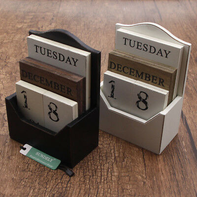 Wooden Shabby Chic Design Perpetual Calendar Rotating Blocks Date Month Day Desk • 11.98£