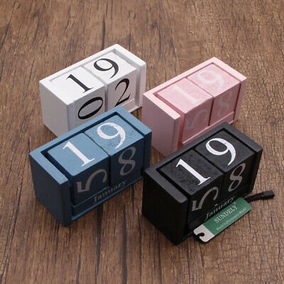 Wooden Shabby Chic Design Perpetual Calendar Rotating Blocks Date Month Day Desk • 7.58£