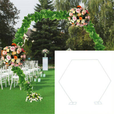 $89.95 • Buy 2M Wedding Arch Hexagonal Arch Iron Shelf Party Backdrop Road Lead Floral Stand