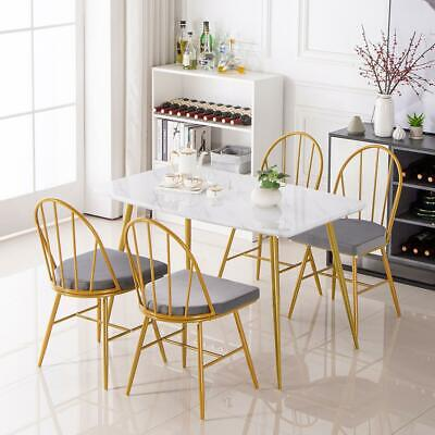 $179.59 • Buy Modern Dining Table And 4 Chairs Set Metal Legs Dining Room Chair White Kitchen