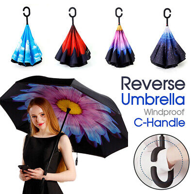 AU16.26 • Buy Windproof Upside Down Reverse Umbrella Double Layer Inside-Out Inverted C-Handle