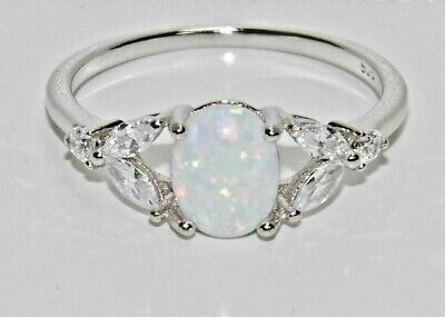 Sterling Silver Fiery Opal & White Topaz Ring - Real 925 Silver - All Sizes • 12.95£