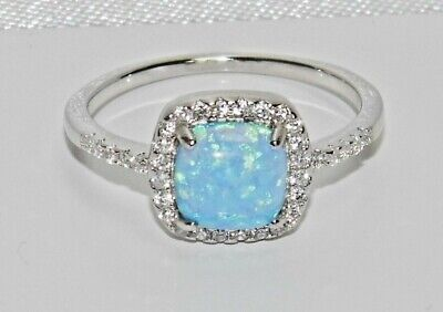 Sterling Silver Blue Opal & Zircon Cluster Ring - Real 925 Silver - All Sizes • 12.95£