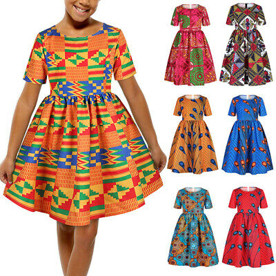 Kids Girl African Swing Dress Casual Summer Mini Skater Party Evening Dresses UK • 10.25£