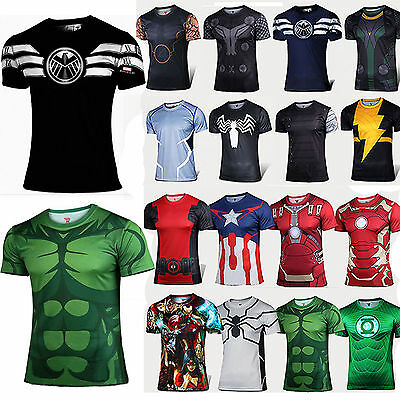 Marvel Superhero Compression T-Shirt Men's Base Layer Fitness Gym Muscle Tops • 11.11£