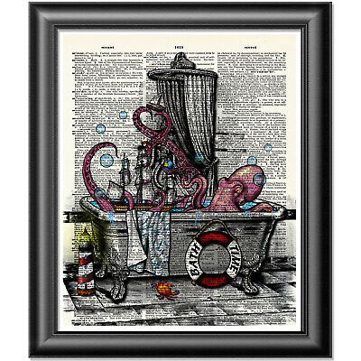 Octopus Art Print On Dictionary Book Page Wall Art Bathroom Decor Picture • 5.99£