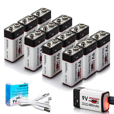 POOVER USB 680mA 9V LI-ION Rechargeable Batteries Pp3 9-volt Lithiun-ion Battery • 63.99£
