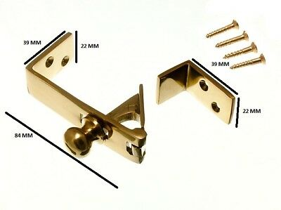 Brass Counter Flap Catch And Stay Polished Brass + Fixings Pack Of 12 • 83.39£