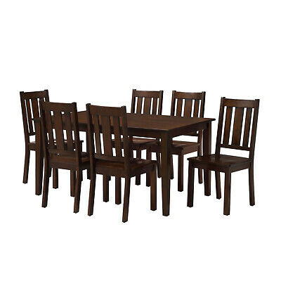 $429.99 • Buy 7 Piece Dining Room Table Set For 6 Farmhouse Wooden Kitchen Tables And Chairs