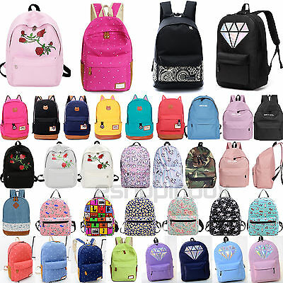 $10.99 • Buy Womens Girls Casual Shoulder Bags School Backpack Canvas Rucksack Travel Handbag