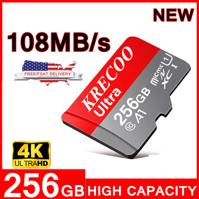 $7.99 • Buy KRECOO 256GB Micro Memory Card 108MB/S 4K Class10 Flash TF Card With Adapter US