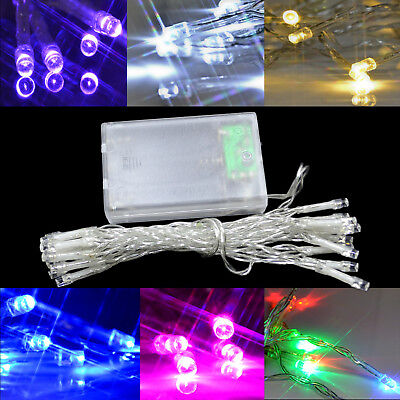 20-80 LED Clear String Fairy Lights Battery Operated Bedroom Wedding Party Decor • 2.29£