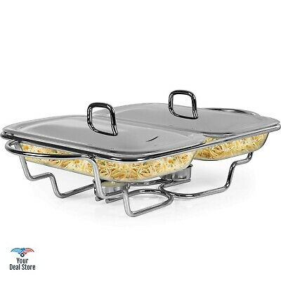 £57.34 • Buy Chafing Dish Set Food Warmer Plate Buffet Server Tray Glass Baking Pan With Lid