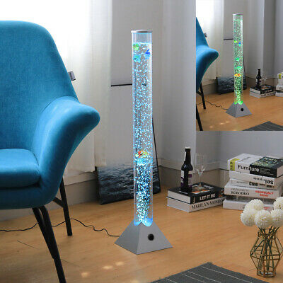 Tube LED Bubble Lamp Colour Changing Water Sensory Mood Light With Fish / Balls • 25.95£