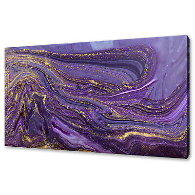 £19.99 • Buy Purple Gold Marble Ripple Pattern Stone Canvas Print Wall Art Picture