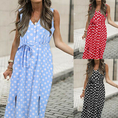 Women's Polka Dot V Neck Midi Sundress Ladies Summer Beach Casual Belted Dresses • 11.58£