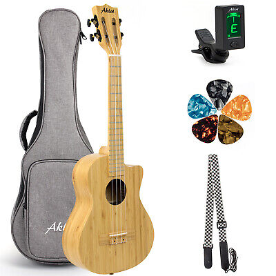 AU94.99 • Buy AKLOT Solid Bmaboo Ukulele Tenor 26 Inch Cut Away Body With Gig Bag Tuner Strap