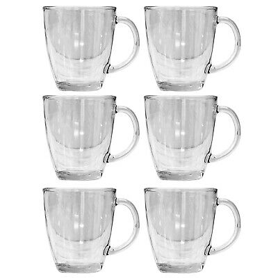 £11.95 • Buy Set Of 6 12oz Clear Glass Coffee Mugs Hot Drinks Latte Cappuccino Drinking Cup