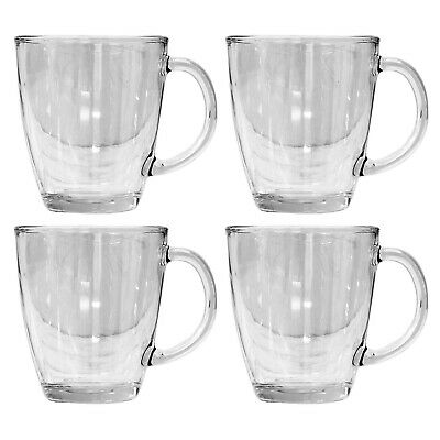 £8.95 • Buy Set Of 4 12oz Clear Glass Coffee Mugs Hot Drinks Latte Cappuccino Drinking Cup