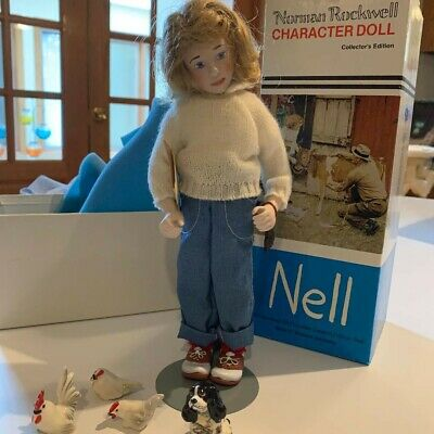 $65 • Buy Norman Rockwell Collector's Edition  Nell  Porcelain Doll W/Orig Box/ Animals