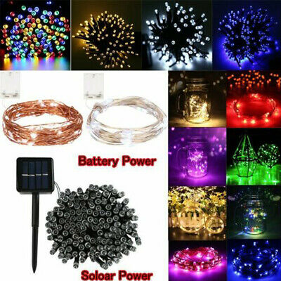 20-500 LED Fairy String Lights Battery/Solar Powered Party Outdoor Indoor Decor • 2.59£