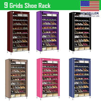 AU31.81 • Buy NEW 10 Tier Shoe Rack Cabinet 30 Pairs With Cover Wall Bench Shelf Shoe Tower