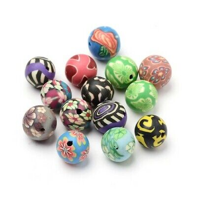 Polymer Clay Round Beads 12mm Mixed 20 Pcs Art Hobby DIY Jewellery Making Crafts • 2.69£