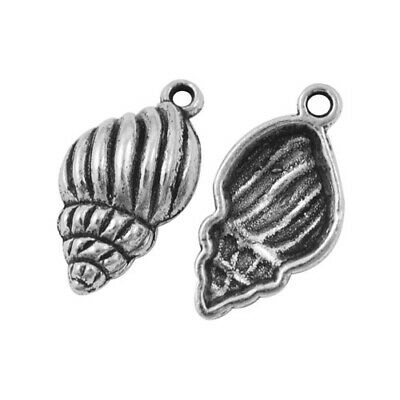 Shell Charm/Pendant Tibetan Antique Silver 26mm  10 Charms Accessory Jewellery • 2.49£