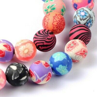 Polymer Clay Round Beads 10mm Mixed 35+ Pcs Art Hobby Jewellery Making Crafts • 3.39£