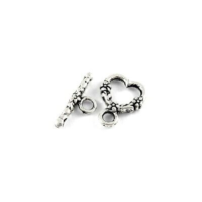 £3.19 • Buy Metal Alloy Clasps & Toggles Antique Silver Heart 14x18mm Pack Of 15