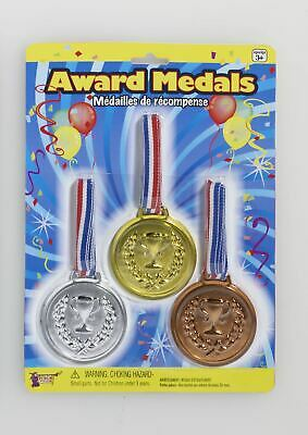 £3.90 • Buy Fake Olympic Games Plastic Champion Gold Awards Medals 3/Pk Costume Accessory
