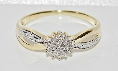 9CT YELLOW GOLD & SILVER DIAMOND LADIES CLUSTER RING ~ Size M • 35£