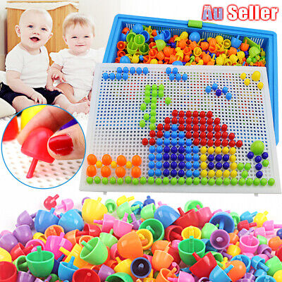AU14.25 • Buy 296 Pegs Board Kids DIY Toys Learning Children Puzzle Educational Gift Creative