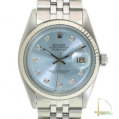 $ CDN5281.45 • Buy Rolex Mens Datejust White Gold & SS 1601 Ice Blue Face Fluted Jubilee 36mm Watch