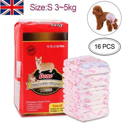 16pc Pet Puppy Sanitary Pants Female Dog Physiological Diaper Nappy Pants S M L • 8.99£