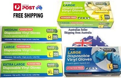 AU17.50 • Buy Vinyl Gloves,  Clear/blue  --100 Gloves  Disposable Gloves