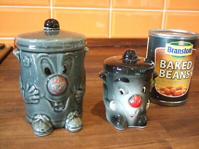 2 X Collectable Pottery Dusty Bins - One Money Bank - One Salt Pot • 16£