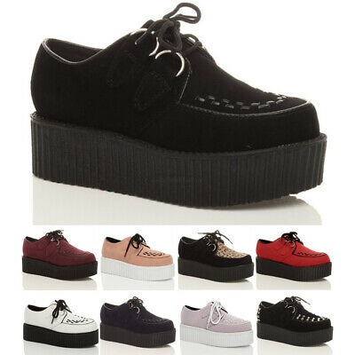 Womens Ladies Flat Double Platform Wedge Lace Up Goth Creepers Shoes Boots Size • 22.99£