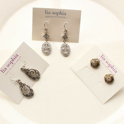 $ CDN15.13 • Buy New 3pairs Lia Sophia Stud Drop Earrings Gift Vintage Lady Party Holiday Jewelry