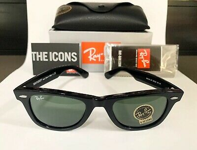 AU119 • Buy RayBan Wayfarer Classic Black Sunglasses G-15 Lens RB2140 901 50mm